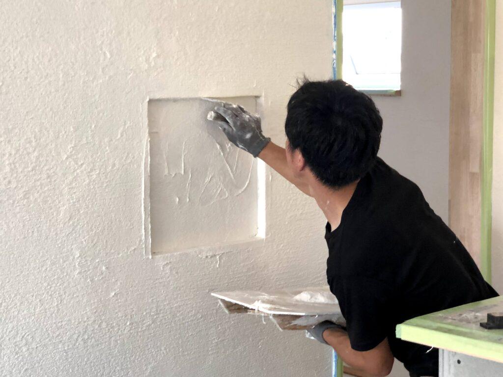 【栗原市 C様邸 新築工事】左官工事:内部上塗り